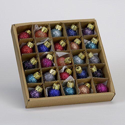 Kurt Adler .78″ Glitter Glass Ball Ornaments – 25 Pieces #C1962