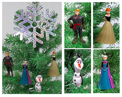 Disney Frozen Christmas Tree Ornament Set Featuring Anna, Elsa, Kristoff, Olaf the Snowman and Winter Ornament, Ornaments Average 2″ to 3″ Tall
