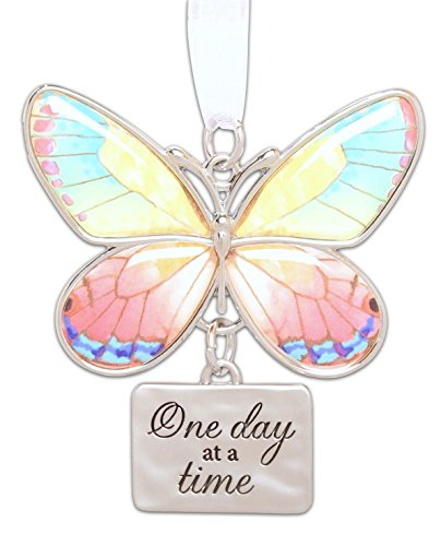Ganz 2″ Beautiful Zinc Butterfly Ornament with Sentiment Featuring White Organza Ribbon for Hanging (One Day at a Time)