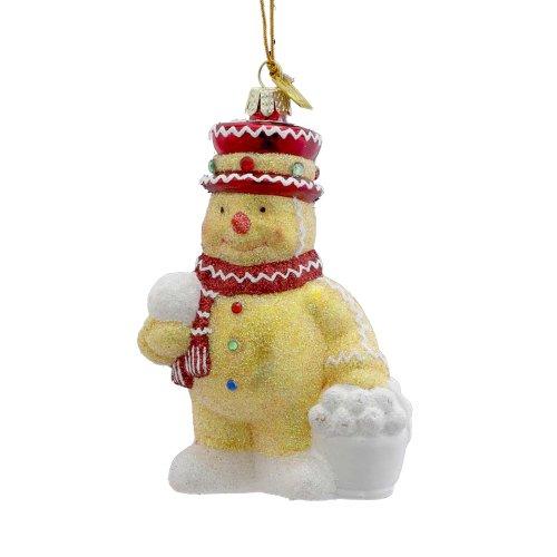 Kurt Adler 4-Inch Noble Gems Glass Gingerbread Snowman with Snowballs Ornament