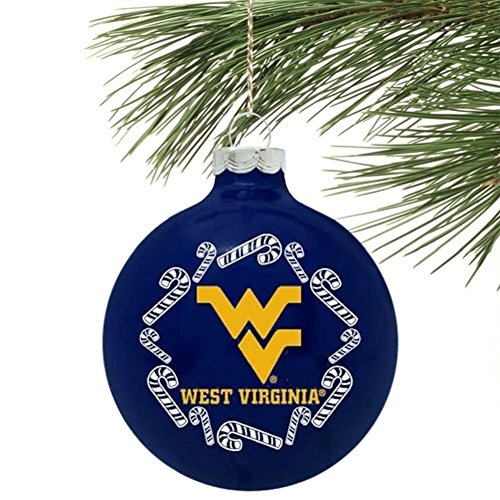 NCAA Candy Cane Traditional Glass Ball Christmas Ornament- 2 5/8″-West Virginia Mountaineers