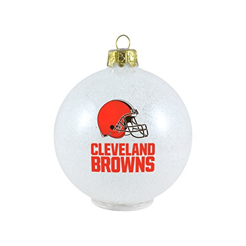 NFL Cleveland Browns LED Color Changing Ball Ornament, 2.625″, White