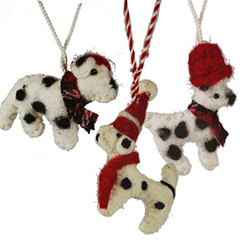 Set Of 3 Felted Wool Dog Hanging Ornament