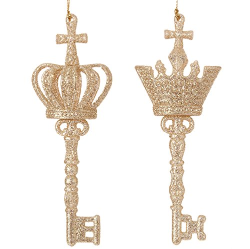 RAZ Imports – 5.5″ Glittered Gold Crown KEY Christmas Tree Ornaments – Set of 2