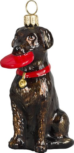 The Pet Set Blown Glass European Dog Ornament By Joy to the World Collectibles – Chocolate Labrador Retriever with a Frisbee