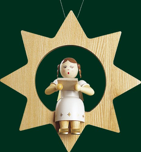 Hanging Christmas Tree Star Shaped Ornament Angel with Book, 8.4 Inches