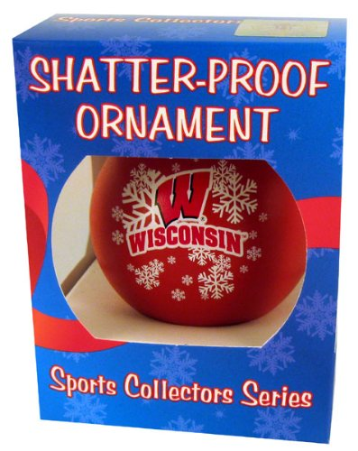 NCAA Wisconsin Badgers Shatterproof Ball Ornament, 3.125″, Red