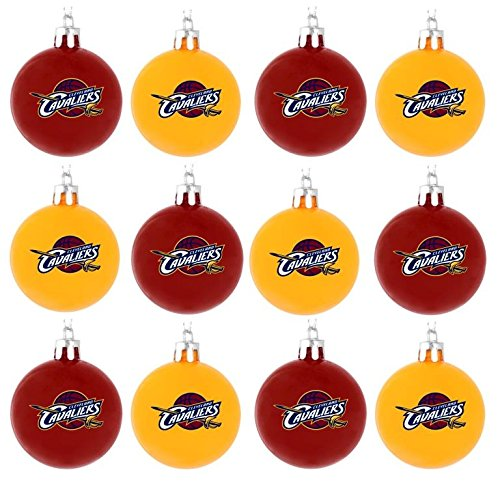 NBA Basketball Plastic Ball Holiday Tree Ornament Set (12 Pack) – Pick Team (Cleveland Cavaliers)