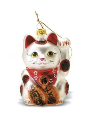 Asian-Inspired Maneki Neko Cat Glass Ornament With Glitters – Good Luck Kitty