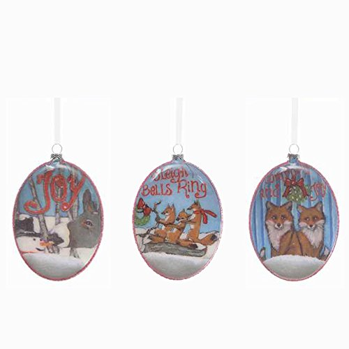 Glass Oval Fox and Snowman with Donkey Hanging Christmas Tree Ornament, Set of Three