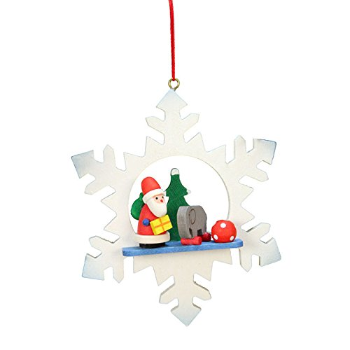 """10-0552 – Christian Ulbricht Ornament – Santa with Toys in Snowflake – 3.5″""""H x 3″""""W x 1″""""D"""