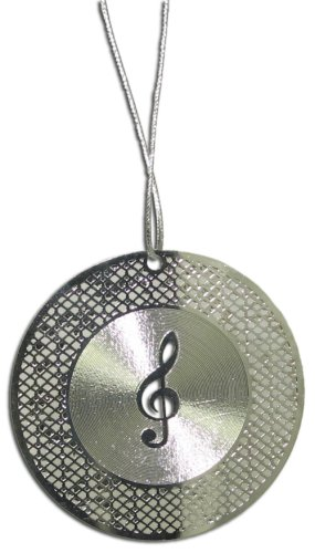 Silver Laser Cut G Clef on Record Ornament