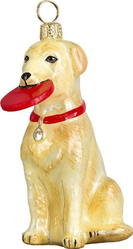 The Pet Set Blown Glass European Dog Ornament by Joy to the World Collectibles – Yellow Labrador Retriever Dog with Frisbee