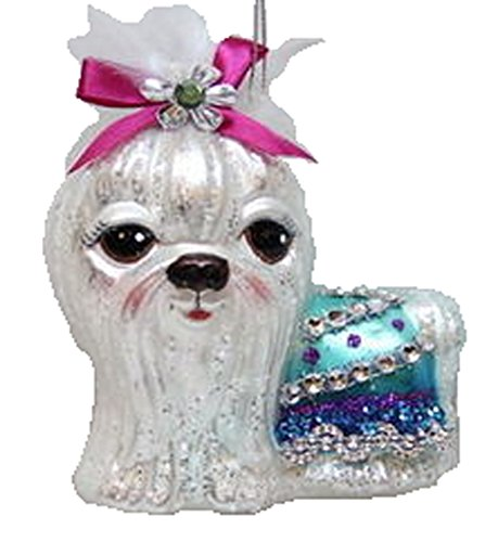 December Diamonds Blown Glass Ornament – Maltese with Pink Bow