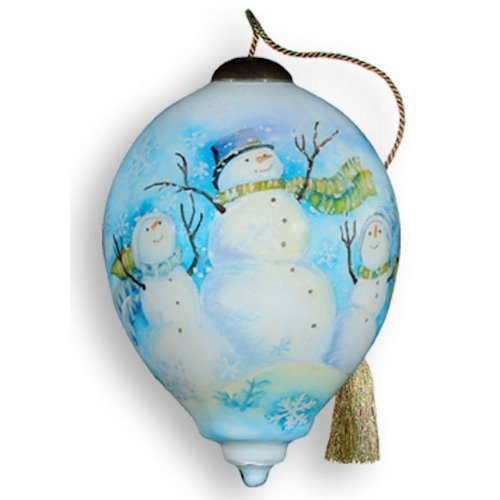 Winter Snowmen Glass Ornament – Ne'Qwa Art – Handpainted