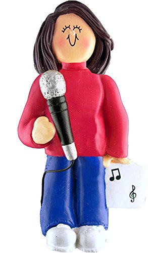Music Treasures Co. Female Musician Microphone Ornament – Brown