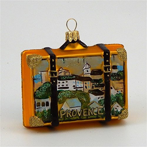 Provence France Travel Suitcase Polish Mouth Blown Glass Christmas Ornament