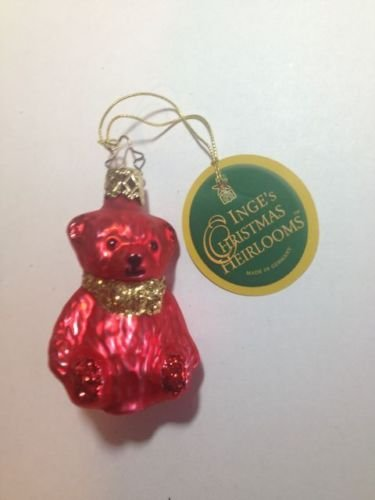 Mini Bear Red #401-338-01 by Inge-Glas of Germany – Christmas Tree Ornament