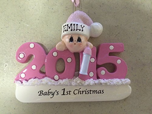 Personalized Baby's First Christmas Ornament 2015 – Pink/girl – Free Personalization