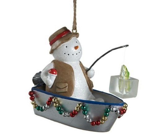 Fishing Boat Ornament with Snowman and Christmas Lights, by Midwest-CBK