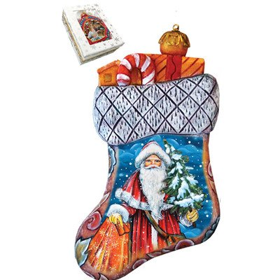 G. Debrekht Christmas Angels Stocking Scenic-Ornament, 3.5″