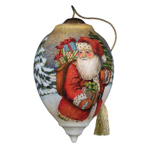"""Merry Christmas Santa"" Hand Painted Glass Ornament"