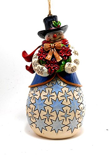 Jim Shore Poinsettia Wreath Snowman Ornament