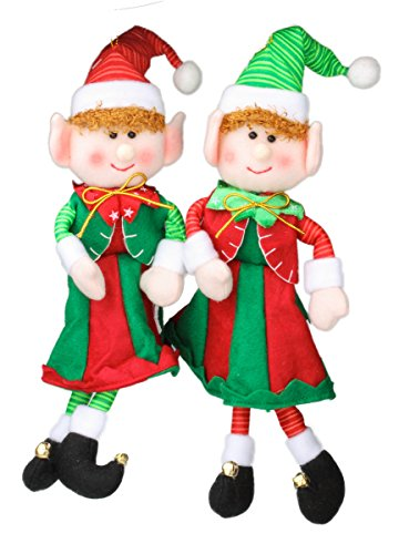 Christmas Jingle Bell Plush Elf Ornaments 12.5″ with Hat and Coat with Fuzzy Cuffs – Green, Red, and White (Pack of 2)