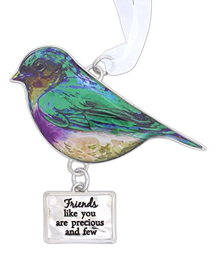 Ganz Beautiful Blessings Decorative Colorful Bird Ornament for Family with White Ribbon for Hanging (Friends)