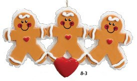 Gingerbread Family of 3 Ornament
