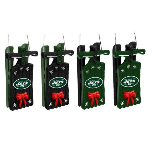 New York Jets Sleigh Ornament 4 pack