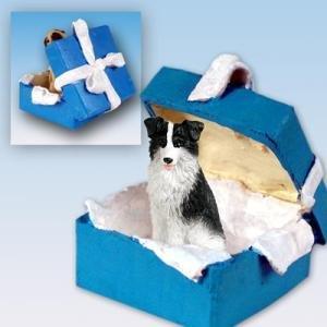 Conversation Concepts Border Collie Gift Box Blue Ornament