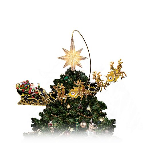 NFL-Licensed Pittsburgh Steelers Lighted Christmas Tree Topper: Steelers Holiday Pride by The Bradford Exchange