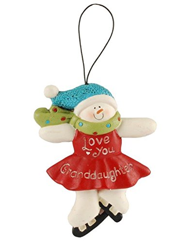 Blossom Bucket Granddaughter Snowgirl Ornament Christmas Decor, 4-1/2″ High
