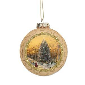 Enesco Thomas Kincaid Painter of Light Town Square Tree Ornament, 3.5-Inch