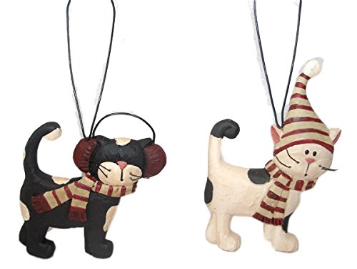 Blossom Bucket Winter Cats in Warm Hats & Scarves Set of Two Resin Ornaments #1
