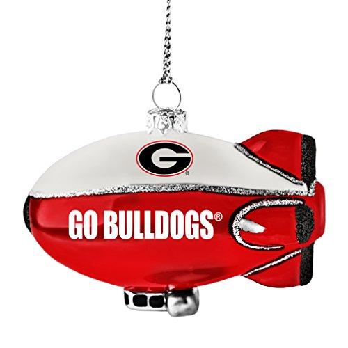 NCAA Georgia Bulldogs Glitter Blimp Ornament, Silver, 3″ x 2.25″