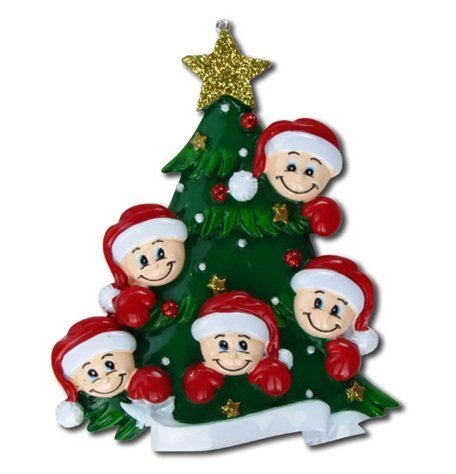 2463 Family of Five with Christmas Tree Hand Personalized Christmas Ornament by PolarX Ornaments