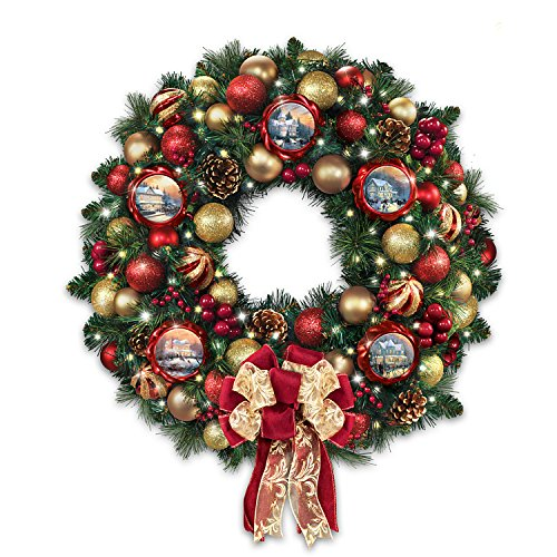 Thomas Kinkade Season of Splendor Lighted Christmas Wreath: Bradford Exchange by The Bradford Exchange