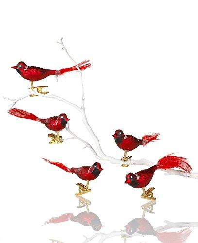 Kurt Adler 5-Piece Glass Red Clip-On Bird Ornament Set