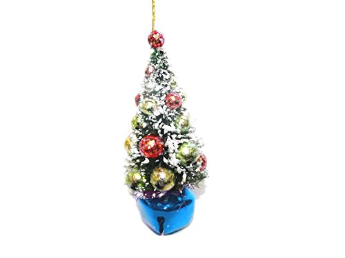 TOPIARY CHRISTMAS TREE ORNAMENT WITH COLORED JINGLE BELL (BLUE)
