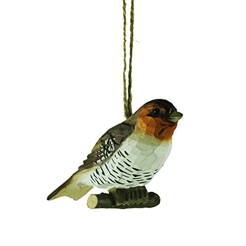 Hand Carved Brown and White Wood Bird Hanging Christmas Tree Ornament
