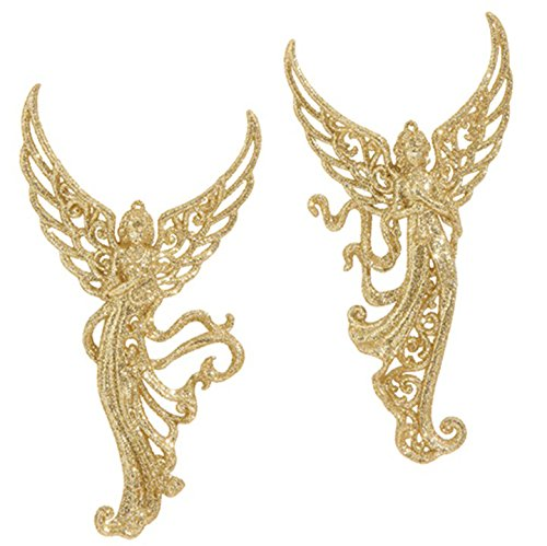 RAZ Imports – 7″ Gold Glittered Filigree Angel Christmas Tree Ornaments – Set of 2