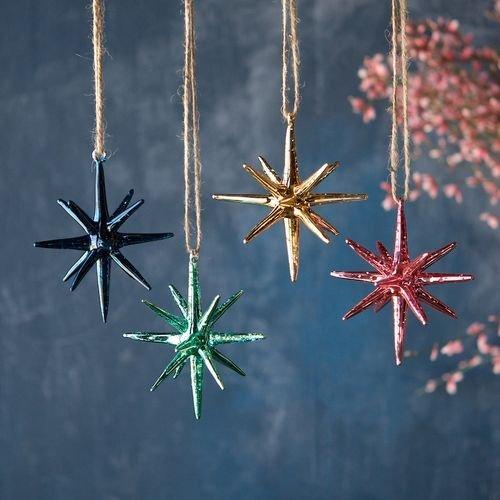 One Hundred 80 Degrees Sparkle Moravian Star Glass Ornaments (Set/4)