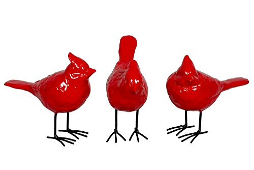 Set of 3 Resin Country Christmas Red Decorative Cardinals