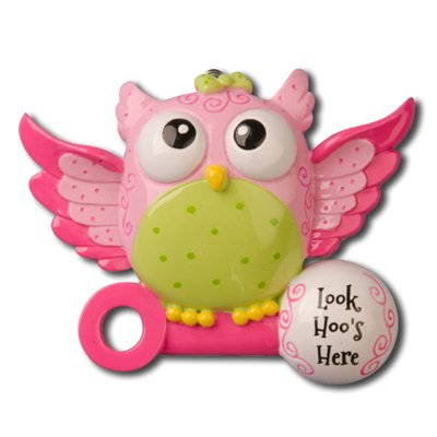 Look Hoo's Here Ornament – Pink
