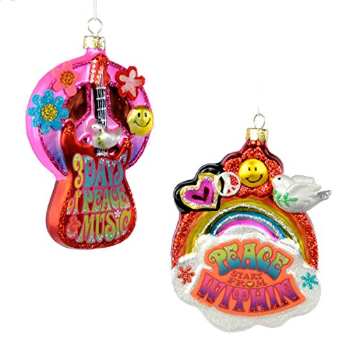 One Hundred 80 Degrees 1960s Colorful Peace Ornaments (Set/2)