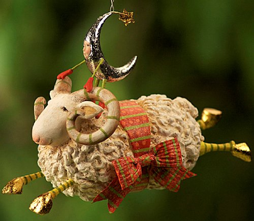 Patience Brewster Krinkles Joyful Flying Ram Christmas Ornament