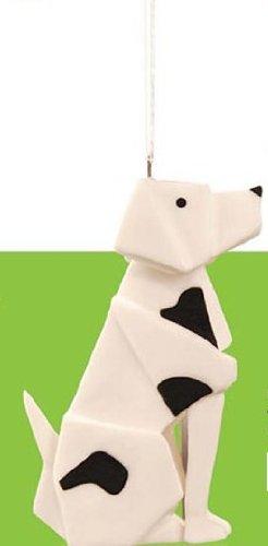 One Hundred 80 Degrees Porcelain Origami Black and White Dog Ornament