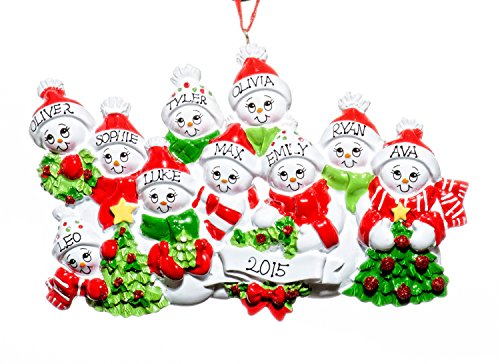 Family 10 Person Personalized Name SnowMen/SnowWomen Holiday Christmas Tree Ornament-Free Names Personalized – Shipped In One Day